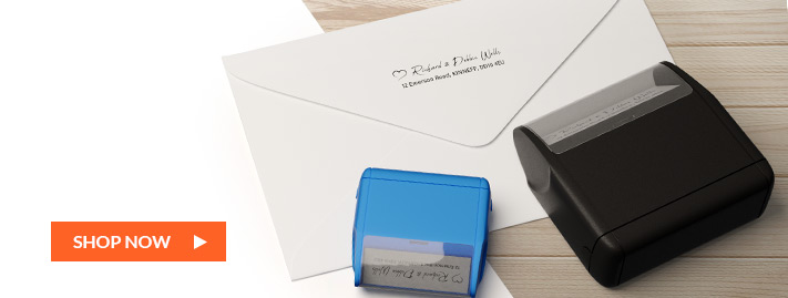 self-inking stamped cards and envelopes